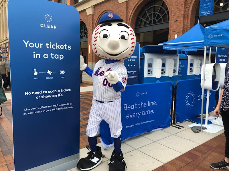 Mr. Met shows off Clear at Citi Field in Queens, New York. (via Clear)