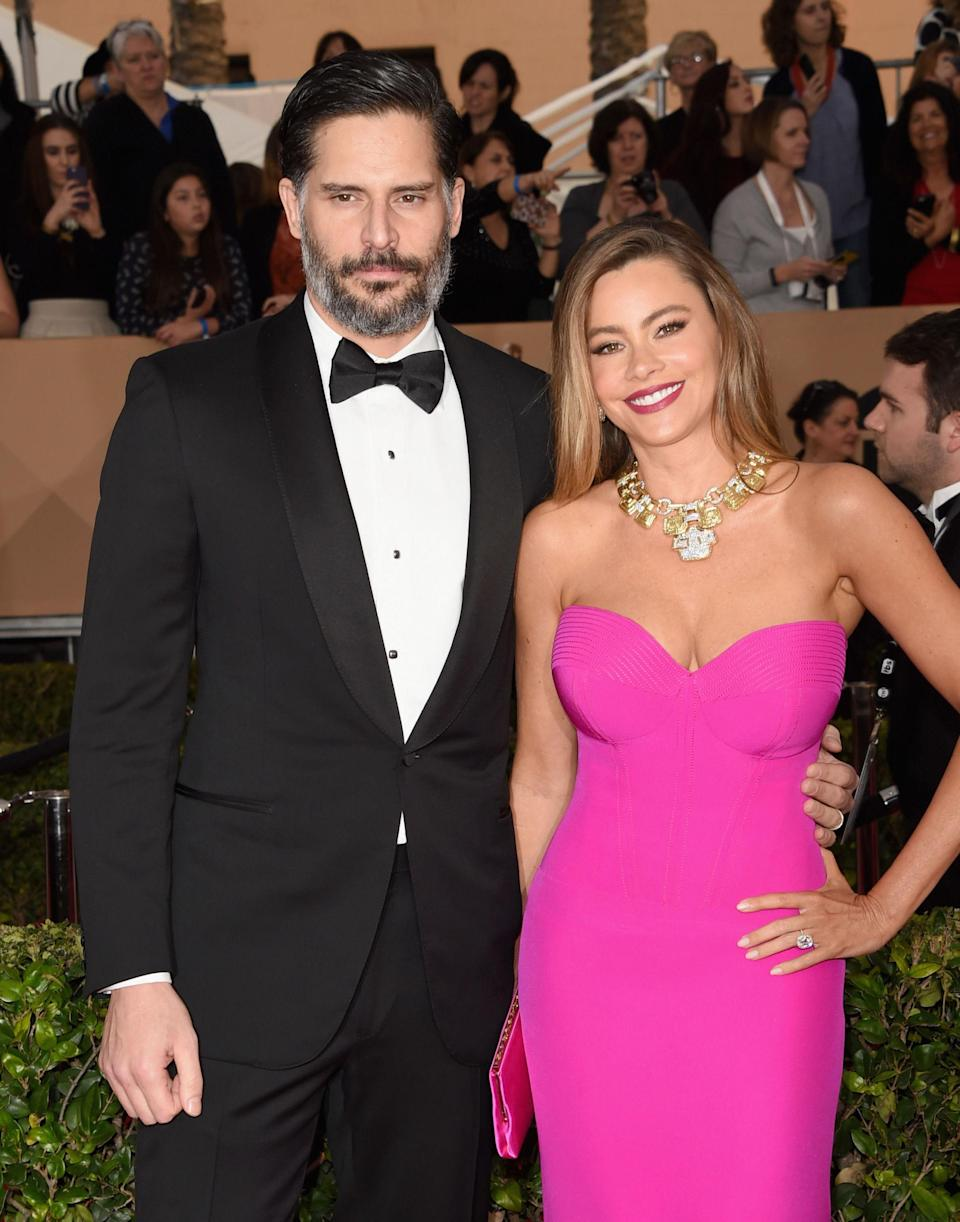 """<p>The couple that cheats together, stays together?! Manganiello<span> <a href=""""https://www.popworkouts.com/magic-mike-joe-manganiello-six-pack/4/"""" rel=""""nofollow noopener"""" target=""""_blank"""" data-ylk=""""slk:famously said,"""" class=""""link rapid-noclick-resp"""">famously said,</a> """"it's good to have a cheat meal once in a while,"""" and both hubby and wifey have stuck to that mantra. Manganiello's weekly cheat meal is two truffle burgers, cheese tots, and onion rings from Umami Burger, <a href=""""http://www.mensfitness.com/nutrition/what-to-eat/joe-manganiellos-diet"""" rel=""""nofollow noopener"""" target=""""_blank"""" data-ylk=""""slk:according to Men's Fitness"""" class=""""link rapid-noclick-resp"""">according to <em>Men's Fitness</em></a><em>.</em> Vergara, on the other hand, dedicates an entire weekend to eating whatever she wants. """"I love </span>healthy eating, but I also love dessert,"""" <a href=""""http://well.blogs.nytimes.com/2013/05/03/the-workout-sofia-vergara-hates-to-exercise/?ref=health"""" rel=""""nofollow noopener"""" target=""""_blank"""" data-ylk=""""slk:she told The New York Times"""" class=""""link rapid-noclick-resp"""">she told<em> The New York Times</em></a><span>.</span> """"I don't go too crazy during the week. But on the weekends, I completely order whatever I want.<span>""""</span></p>"""