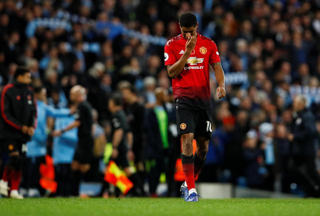 """Soccer Football - Premier League - Manchester City v Manchester United - Etihad Stadium, Manchester, Britain - November 11, 2018 Manchester United's Marcus Rashford looks dejected Action Images via Reuters/Jason Cairnduff EDITORIAL USE ONLY. No use with unauthorized audio, video, data, fixture lists, club/league logos or """"live"""" services. Online in-match use limited to 75 images, no video emulation. No use in betting, games or single club/league/player publications. Please contact your account representative for further details."""