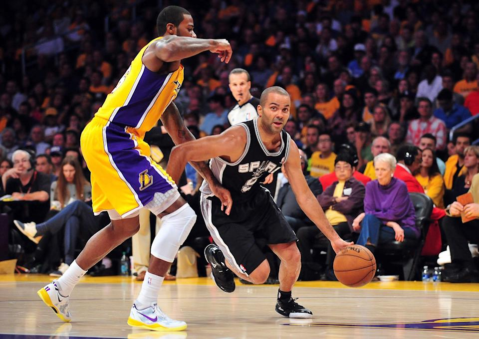 The Lakers haven't played a playoff game in front of their fans since Tony Parker (right) and the Spurs swept them in the playoffs in 2013.