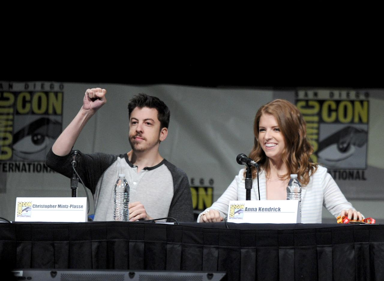 """SAN DIEGO, CA - JULY 13:  Actors Christopher Mintz-Plasse and Anna Kendrick speak at the """"Paranorman: Behind The Scenes"""" panel during Comic-Con International 2012 at San Diego Convention Center on July 13, 2012 in San Diego, California.  (Photo by Kevin Winter/Getty Images)"""