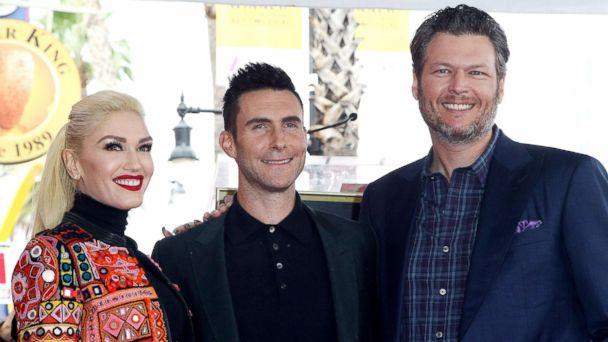 PHOTO: Gwen Stefani, Adam Levine and Blake Shelton attend a ceremony honoring Adam Levine with Star On The Hollywood Walk Of Fame on Feb. 10, 2017, in Hollywood, Calif. (Tommaso Boddi/WireImage via Getty Images FILE)