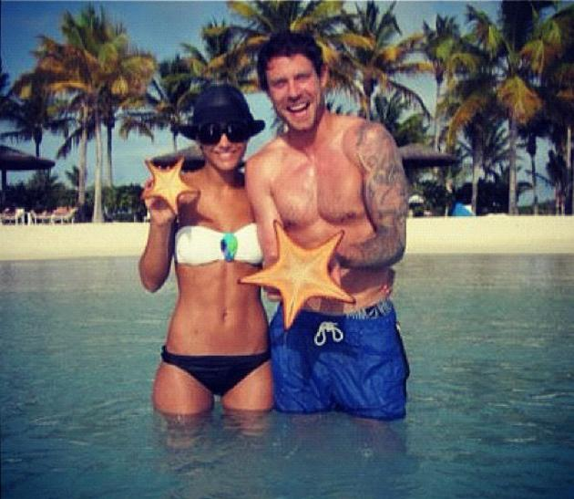 Celebrity photos: Frankie Sandford enjoyed a well deserved holiday with boyfriend Wayne Bridge last week. The pair showed off their amazing beach bodies, posing for a photo in the sea. Copyright [Frankie Sandford]