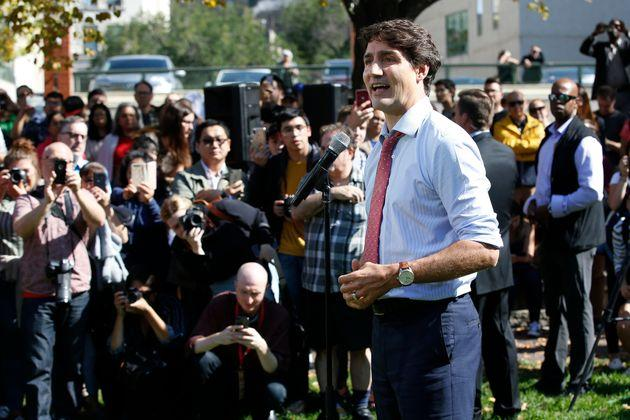 Prime Minister Justin Trudeau addresses the media regarding photos and video that have surfaced in which he is wearing dark makeup on Sept. 19, 2019 in Winnipeg.