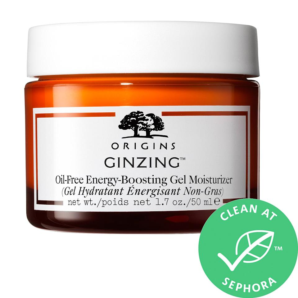 """<h3>Origins GinZing Oil-Free Energy Boosting Gel Moisturizer<br></h3><br>Consider this cult-favorite formula an espresso shot for your face. It's packed with coffee and ginseng to revive and energize tired skin, but it's also oil-free and won't make your face feel tacky.<br><br><strong>Origins</strong> GinZing™ Oil- Free Energy Boosting Gel Moisturizer, $, available at <a href=""""https://go.skimresources.com/?id=30283X879131&url=https%3A%2F%2Fwww.sephora.com%2Fproduct%2Fginzing-energy-boosting-gel-moisturizer-P444044%3FskuId%3D2264117%26icid2%3Dproducts%2520grid%3Ap444044%3Aproduct"""" rel=""""nofollow noopener"""" target=""""_blank"""" data-ylk=""""slk:Sephora"""" class=""""link rapid-noclick-resp"""">Sephora</a>"""