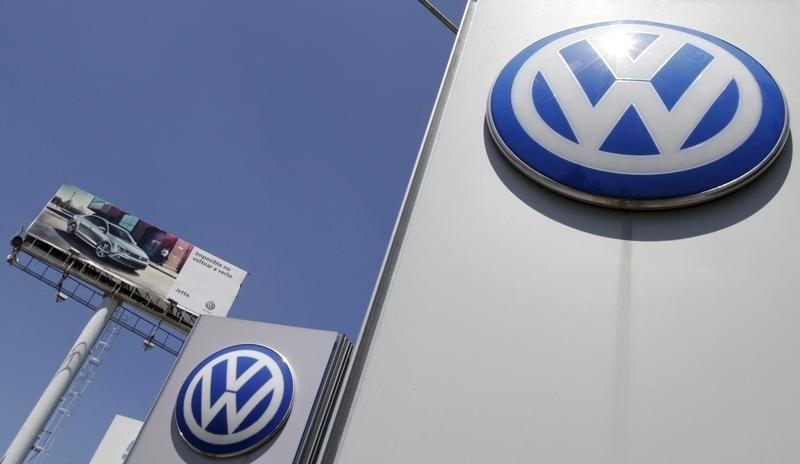 The logo of German carmaker Volkswagen is seen at the Volkswagen (VW) automobile manufacturing plant in Puebla near Mexico City