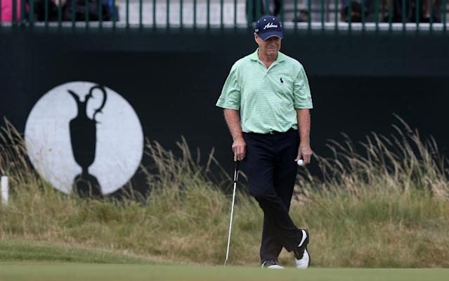 Tom Watson of the US waits to play on the 3rd green during the second day of the British Open Golf championship at the Royal Liverpool golf club, Hoylake, England, Friday July 18, 2014. (AP Photo/Scott Heppell)
