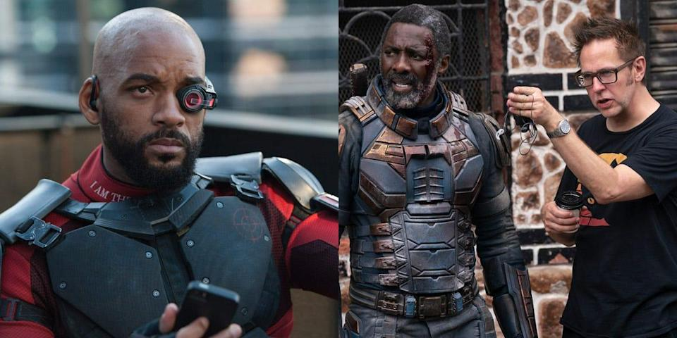 """Will Smith as Deadshot in 2016's """"The Suicide Squad"""" and Idris Elba and James Gunn on the set of 2021's """"The Suicide Squad."""""""