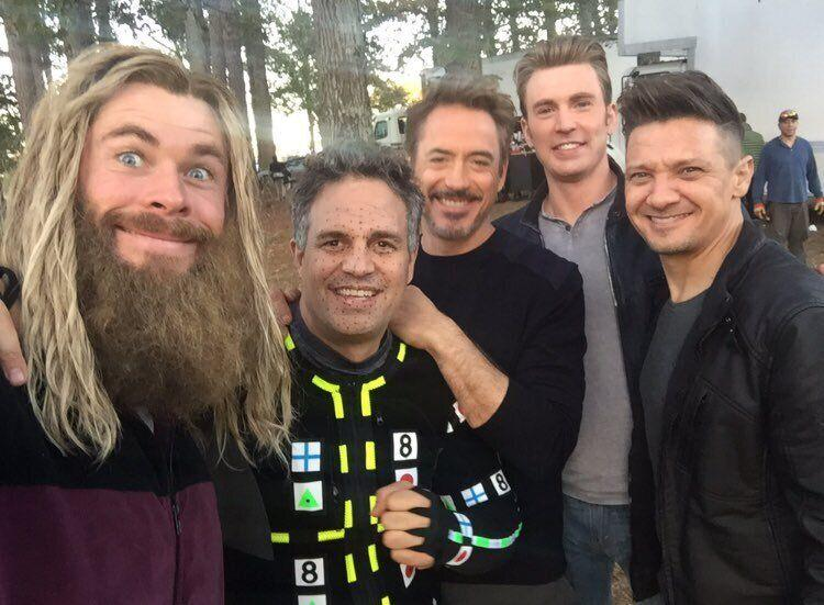 Chris Hemsworth, Mark Ruffalo, Robert Downey Jr, Chris Evans and Jeremy Renner pictured on the set of 'Avengers: Endgame'. (Credit: Chris Evans/Twitter)