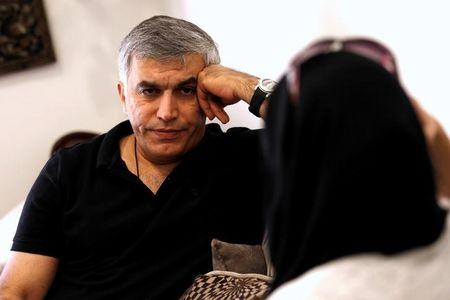 Human rights activists, Zainab al-Khawaja and Nabeel Rajab (L) talk during their meeting with activists after al-Khawaja's release from prison, Manama, Bahrain, June 3, 2016. REUTERS/Hamad I Mohammed