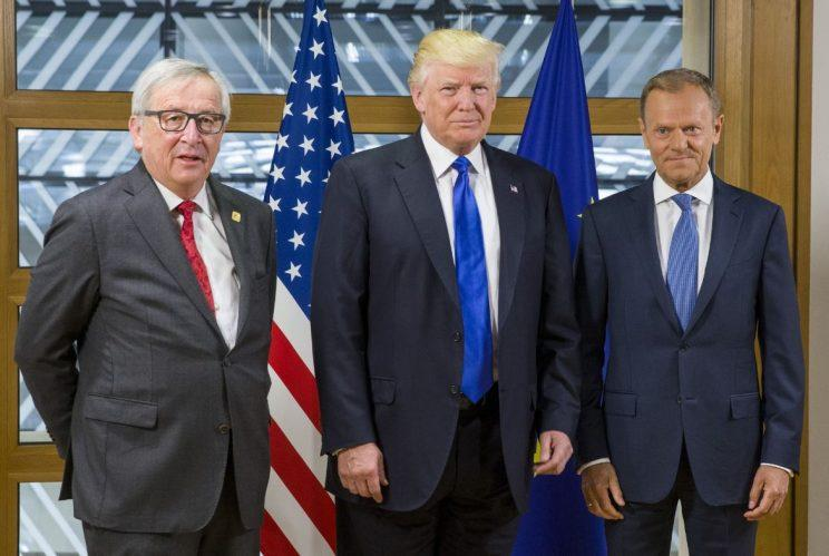 Donald Trump in Brussels yesterday (Thursday) with European Commission President Jean-Claude Juncker (left) and European Council President Donald Tusk, right (Rex)