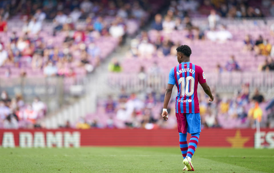 BARCELONA, SPAIN - SEPTEMBER 26: Ansu Fati of FC Barcelona during the LaLiga Santander match between FC Barcelona and Levante UD at Camp Nou on September 26, 2021 in Barcelona, Spain. (Photo by Pedro Salado/Quality Sport Images/Getty Images)