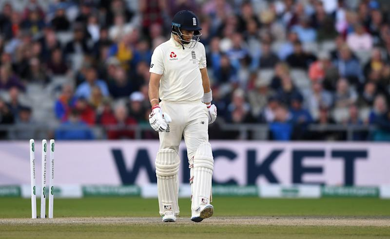 MANCHESTER, ENGLAND - SEPTEMBER 07: England captain Joe Root is bowled by Pat Cummins of Australia during day four of the 4th Specsavers Ashes Test match between England and Australia at Old Trafford on September 07, 2019 in Manchester, England. (Photo by Gareth Copley/Getty Images)