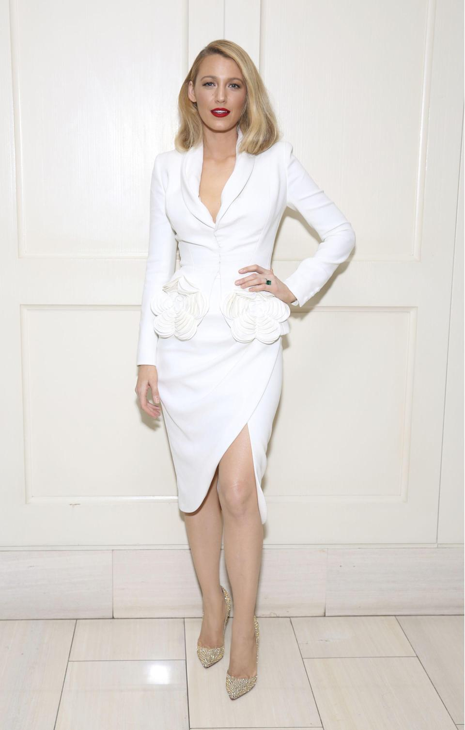 <p>Blake was the ultimate working woman in a white Ralph & Russo power suit for the screening of 'All I See Is You'.<br><i>[Photo: Rex]</i> </p>