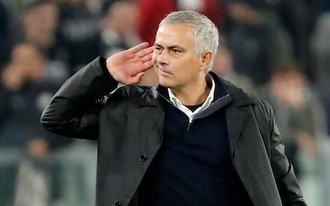 <span>Jose Mourinho was escorted from the pitch after making provocative gestures to the home supporters</span>