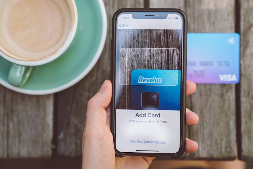 Sofia,Bulgaria-July 29,2018: Adding of Revolut Visa card into Apple Pay digital wallet.Apple Pay is an easy and secure nfc payment method.
