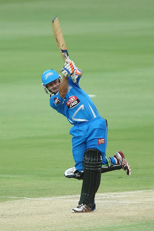 ADELAIDE, AUSTRALIA - DECEMBER 13: Tim Ludeman of the Strikers bats during the Big Bash League match between the Adelaide Strikers and the Brisbane Heat at Adelaide Oval on December 13, 2012 in Adelaide, Australia.  (Photo by Morne de Klerk/Getty Images)