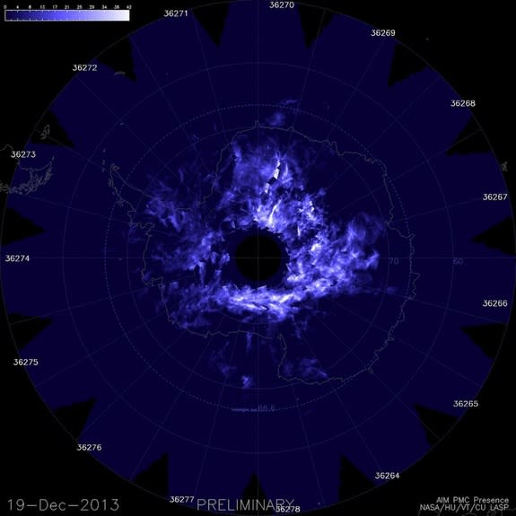 Night-Shining Clouds Show Up Early Over South Pole