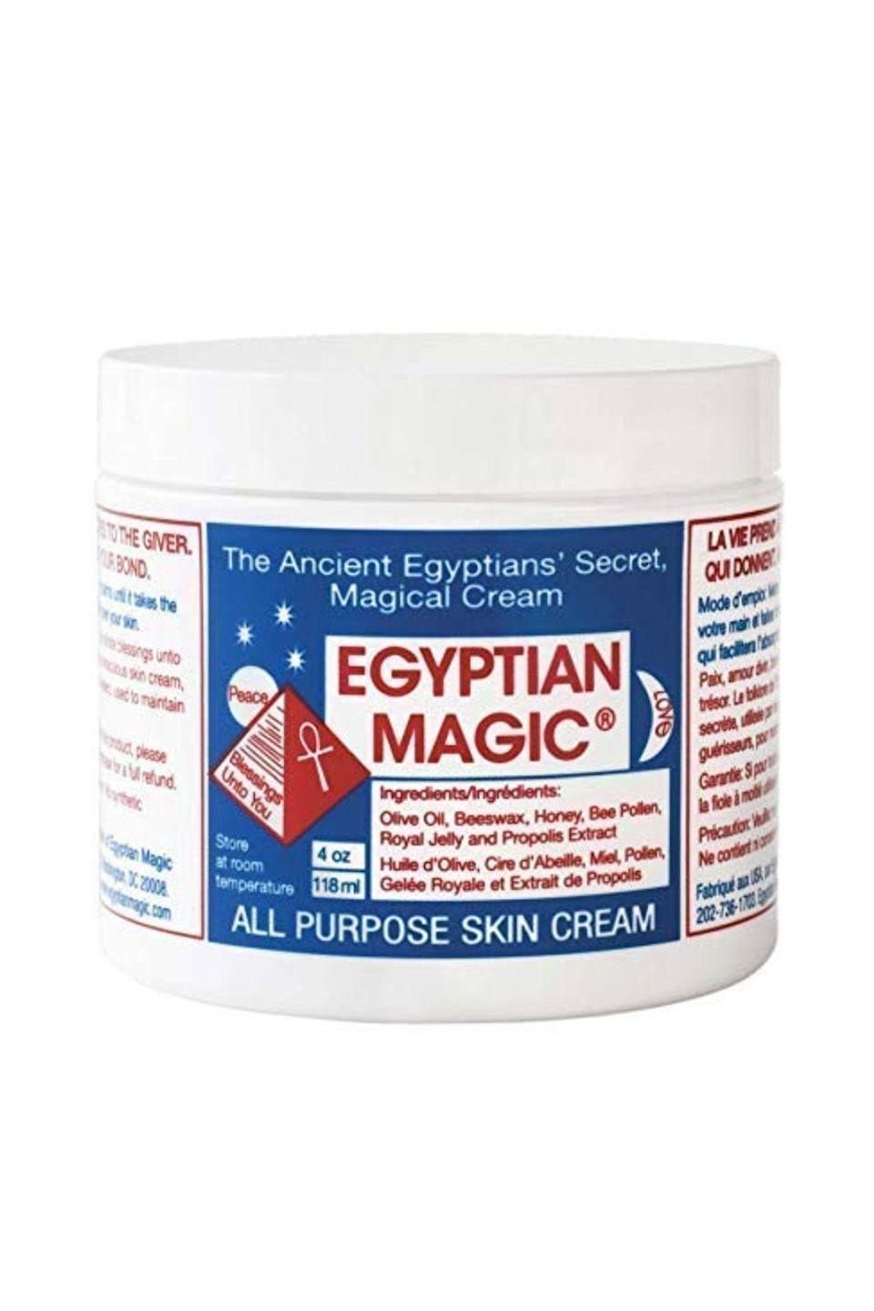 """<p><strong>Egyptian Magic</strong></p><p>amazon.com</p><p><strong>$31.99</strong></p><p><a href=""""https://www.amazon.com/dp/B000WNLFBI?tag=syn-yahoo-20&ascsubtag=%5Bartid%7C10072.g.33013870%5Bsrc%7Cyahoo-us"""" rel=""""nofollow noopener"""" target=""""_blank"""" data-ylk=""""slk:SHOP NOW"""" class=""""link rapid-noclick-resp"""">SHOP NOW</a></p><p><em>S</em>truggling with eternally chapped, cracked cuticles? According to nail artist <a href=""""https://www.instagram.com/fleuryrosenails/?hl=en"""" rel=""""nofollow noopener"""" target=""""_blank"""" data-ylk=""""slk:Fleury Rose"""" class=""""link rapid-noclick-resp"""">Fleury Rose</a>, Egyptian Magic All Purpose Skin Cream works like, well, magic. Not only is the cult-favorite formula multifunctional (so you can also use it on your face, your lips, your body, even your curling iron burns), but it's also loaded with nourishing ingredients like olive oil, beeswax, honey, bee pollen, royal jelly, and bee propolis.</p>"""