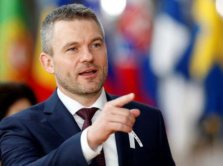 FILE PHOTO: New Slovak Prime Minister Peter Pellegrini at a European Union summit in Brussels, Belgium