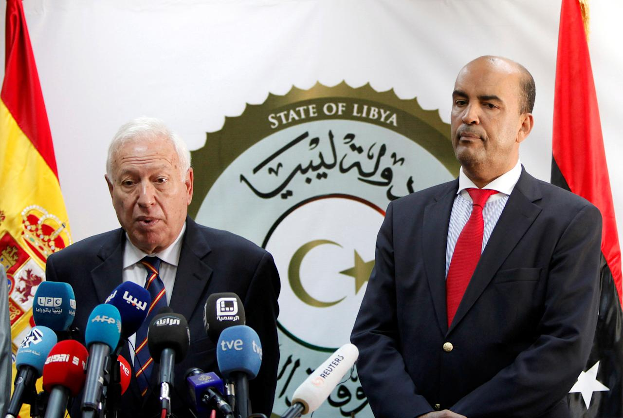 Moussa Al-Koni, member of Libya's presidential council of government of national accord, attends a joint news conference with Spain's Foreign Minister Jose Manuel Garcia-Margallo in Tripoli, Libya, April 28, 2016. REUTERS/Ismail Zitouny