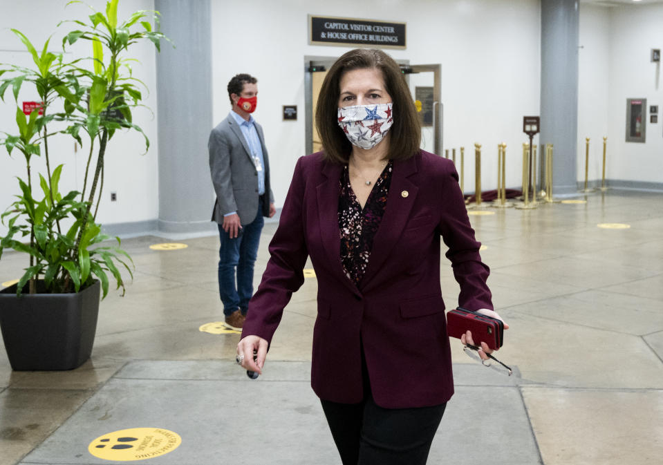 UNITED STATES - SEPTEMBER 24: Sen. Catherine Cortez Masto, D-Nev., heads to the Senate subway after a vote in the Capitol on Thursday, Sept. 24, 2020. (Photo By Bill Clark/CQ-Roll Call, Inc via Getty Images)
