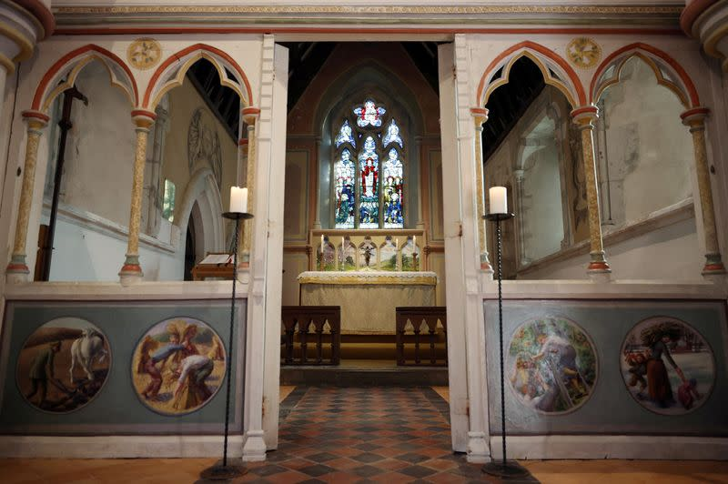 Murals by artists Duncan Grant and Julian Bell are seen inside St Michael and All Angels Church in the village of Berwick near Lewes