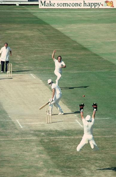 2 Aug 1981:  Ian Botham of England takes the wicket of Terry Alderman of Australia to tie up victory in the 4th Ashes Test match between England and Australia at Edgbaston in Birmingham, England. England won by 29 runs. Mandatory Credit:  Adrian Murrell/Allsport