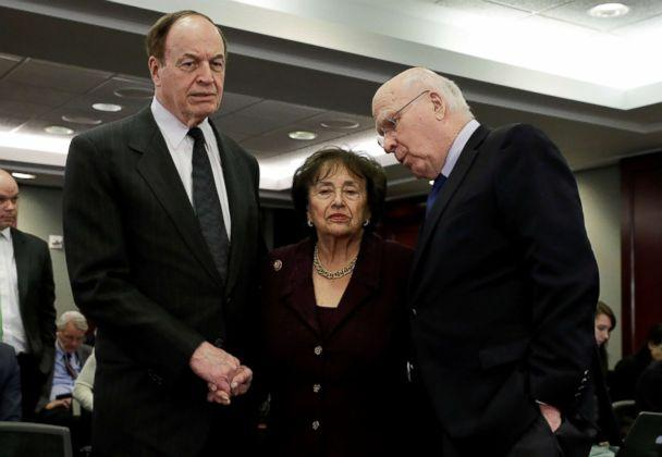 PHOTO: Senators Richard Shelby (R-AL) and Patrick Leahy (D-VT) talk with House Appropriations Committee Chair Rep. Nita Lowey (D-NY) on Capitol Hill, Jan. 30, 2019. (Yuri Gripas/Reuters)