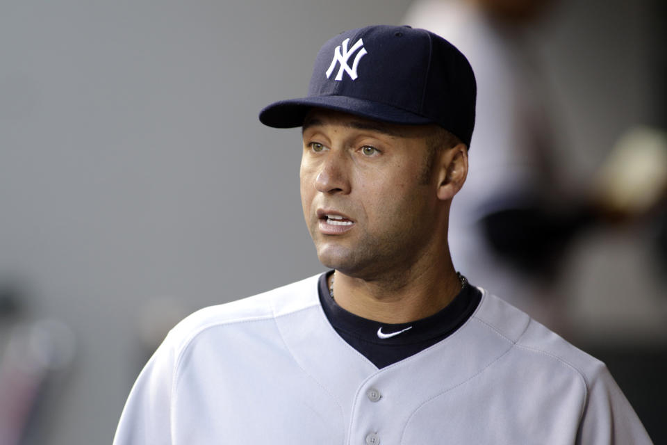 New York Yankees' Derek Jeter is shown in the dugout prior to a baseball game against the Seattle Mariners, Monday, Sept. 12, 2011, in Seattle. (AP Photo/Ted S. Warren)