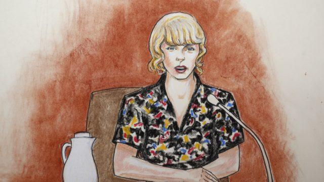 Courtroo sketch of Taylor on the stand