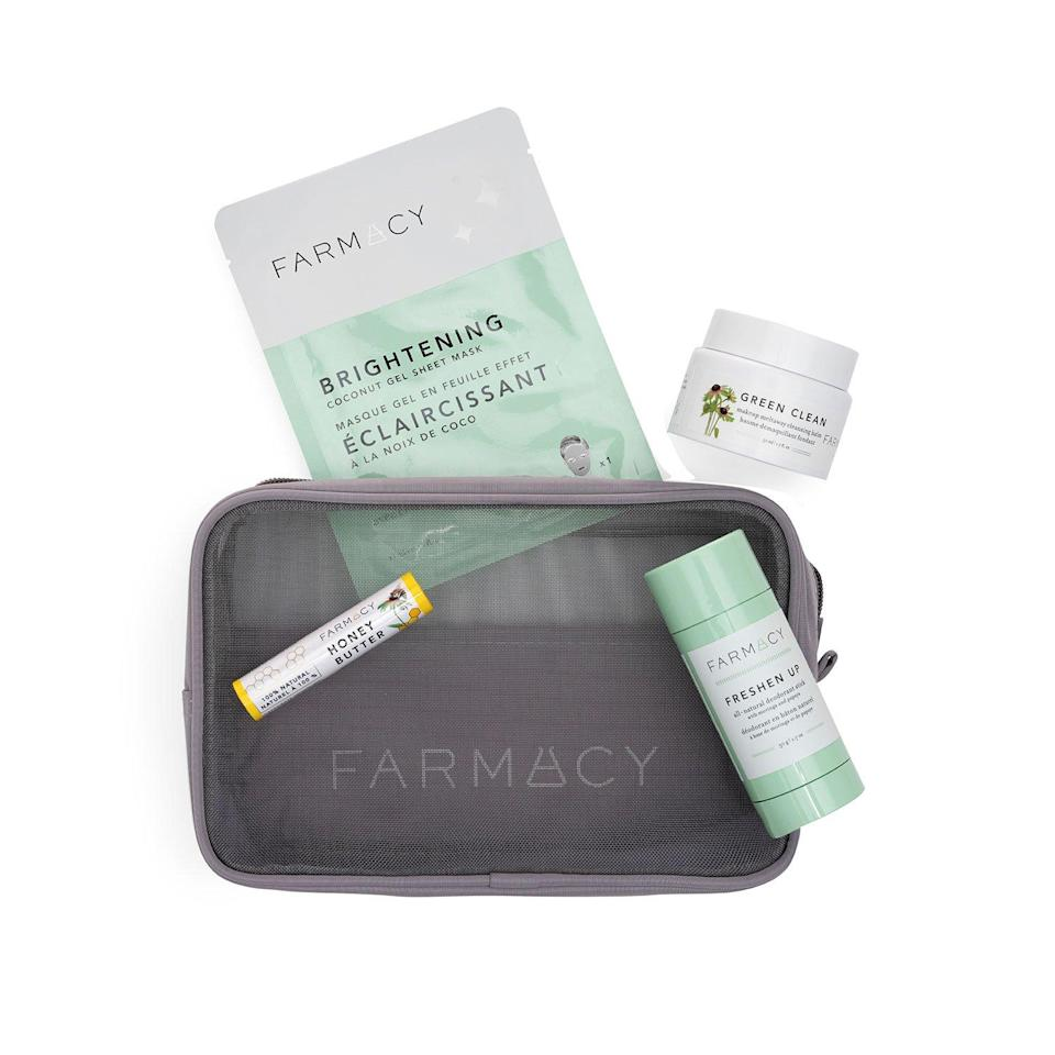 <h3><h2>Supergoop! SPF From Head To Toe Kit</h2></h3><br>A TSA-friendly bundle of skincare products crafted to freshen you up on-the-fly. Each kit contains an all-natural deodorant stick, makeup removing cleansing balm, a brightening coconut-gel sheet mask, beeswax lip balm, and a mesh beauty pouch.<br><br>