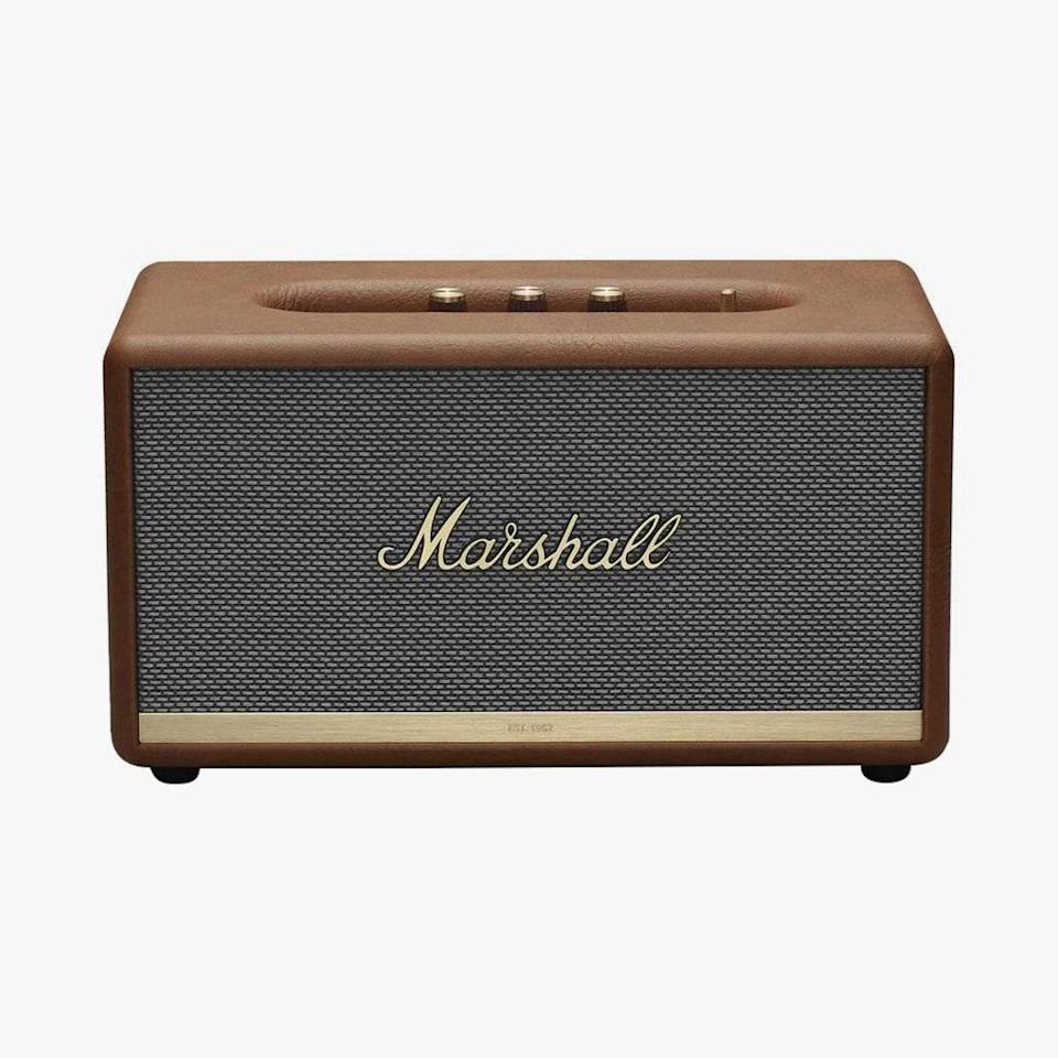 "Supreme sound quality, portability, and a sleek retro look makes this Marshall Bluetooth speaker a fixture in my small NYC apartment. It has never let me down, whether I was throwing a dinner party at home or, now, in need of calming music while I combat the ""Sunday Scaries"" or as of late, daily ""WFH scaries."" It swiftly (and wirelessly) connects to my iPhone so I can always play my favorite Spotify playlist. Needless to say, it's a game-changer in my home. $350, AMAZON. <a href=""https://www.amazon.com/dp/B07NQXX3X4/ref=twister_B07VM1T3BX?_encoding=UTF8&psc=1"" rel=""nofollow noopener"" target=""_blank"" data-ylk=""slk:Get it now!"" class=""link rapid-noclick-resp"">Get it now!</a>"