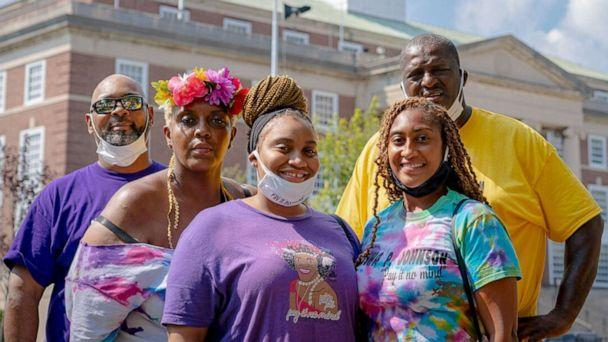 PHOTO: Family members of activist Marsha P. Johnson stand at the site of a new monument to be built in Johnson's honor in Elizabeth, N.J., in a photo released by Union County. (Union County Office of LGBTQ Affairs)