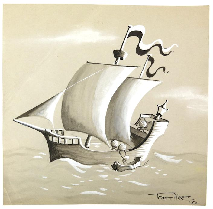 Eggs depicted helping a fellow egg onto a ship in Hart's 1952 illustration