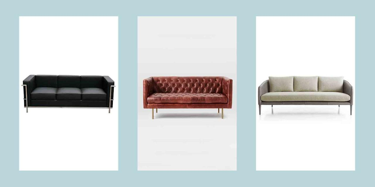 """<p>Committing to a <a href=""""https://www.elledecor.com/shopping/furniture/g14471482/modern-couches/"""" target=""""_blank"""">sofa</a> is like the """"saying yes"""" of furniture: you want to get it right because there's not much turning back. But trust us—there's a beautiful place in the world of seating where comfort <em>and</em> style meet in perfect harmony. While delving into the vast world of sofas may feel a little bit crippling, we've rounded up our top picks to help ease you out of indecisiveness and into the sofa of your dreams. </p><p>From <a href=""""https://www.elledecor.com/shopping/furniture/g10221373/apartment-sofas/"""" target=""""_blank"""">apartment-appropriate</a> sleepers, to <a href=""""https://www.elledecor.com/design-decorate/room-ideas/g84/midcentury-living-rooms/"""" target=""""_blank"""">mid-century modern</a> recycled leather, read below for 20 of the best leather sofas to kick back in this year. </p>"""