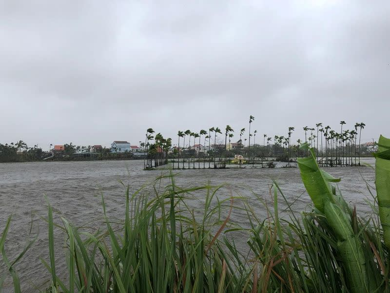 General view of flooded fields as Typhoon Molave sweeps through Hoi An