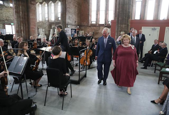 Prince Charles, Prince of Wales and Fionnuala Jay-O'Boyle, founder of the Belfast Buildings Trust, meeting the Ulster Orchestra. (Getty Images)