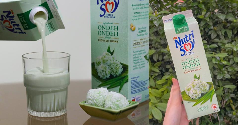 a collage of nutrisoy's ondeh ondeh milk