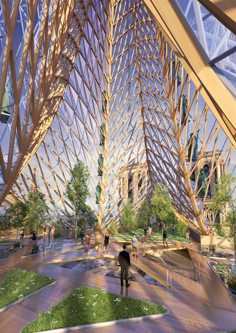 The design submitted by Vincent Callebaut includes an impressive glass spire (Picture: VINCENT CALLEBAUT ARCHITECTURES _ www.vincent.callebaut.org)