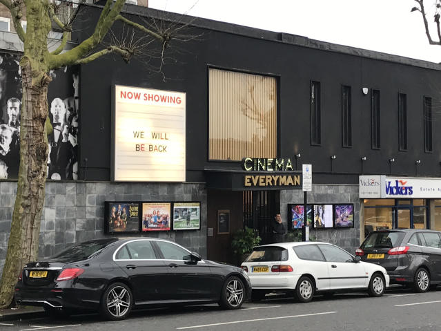 An Everyman cinema in London that has closed its doors in the wake of the coronavirus pandemic. (Photo by Edward Dracott/PA Images via Getty Images)