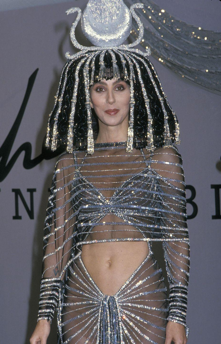 <p>Dressed as Cleopatra for Bob Mackie's Halloween Party.</p>