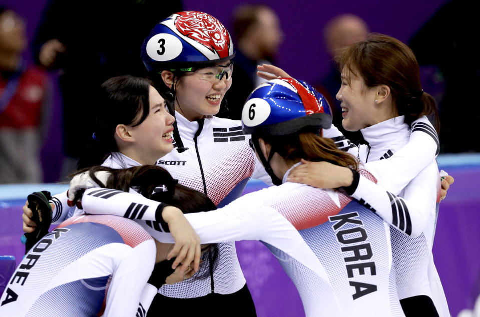 <p>South Korea celebrates after winning the gold medal in the Women's 3000m Short Track Speed Skating relay at the 2018 Winter Olympics in PyeongChang, South Korea, Tuesday, Feb. 20, 2018.<br> (AP Photo/David J. Phillip) </p>