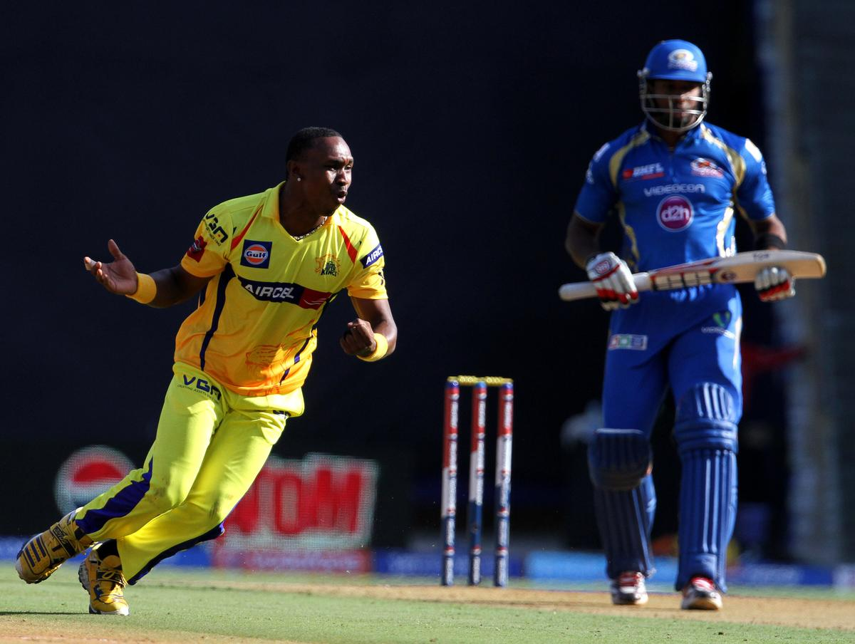 Chennai Super King player Dwayne Bravo reacts after dropping a return catch of Mumbai Indian player Kieron Pollard during match 49 of the Pepsi Indian Premier League ( IPL) 2013  between The Mumbai Indians and the Chennai Super Kings held at the Wankhede Stadium in Mumbai on the 5th May 2013 ..Photo by Vipin Pawar-IPL-SPORTZPICS ..Use of this image is subject to the terms and conditions as outlined by the BCCI. These terms can be found by following this link:..https://ec.yimg.com/ec?url=http%3a%2f%2fwww.sportzpics.co.za%2fimage%2fI0000SoRagM2cIEc&t=1496130437&sig=CGB2.S5kL7pvh_F5POfhmQ--~C