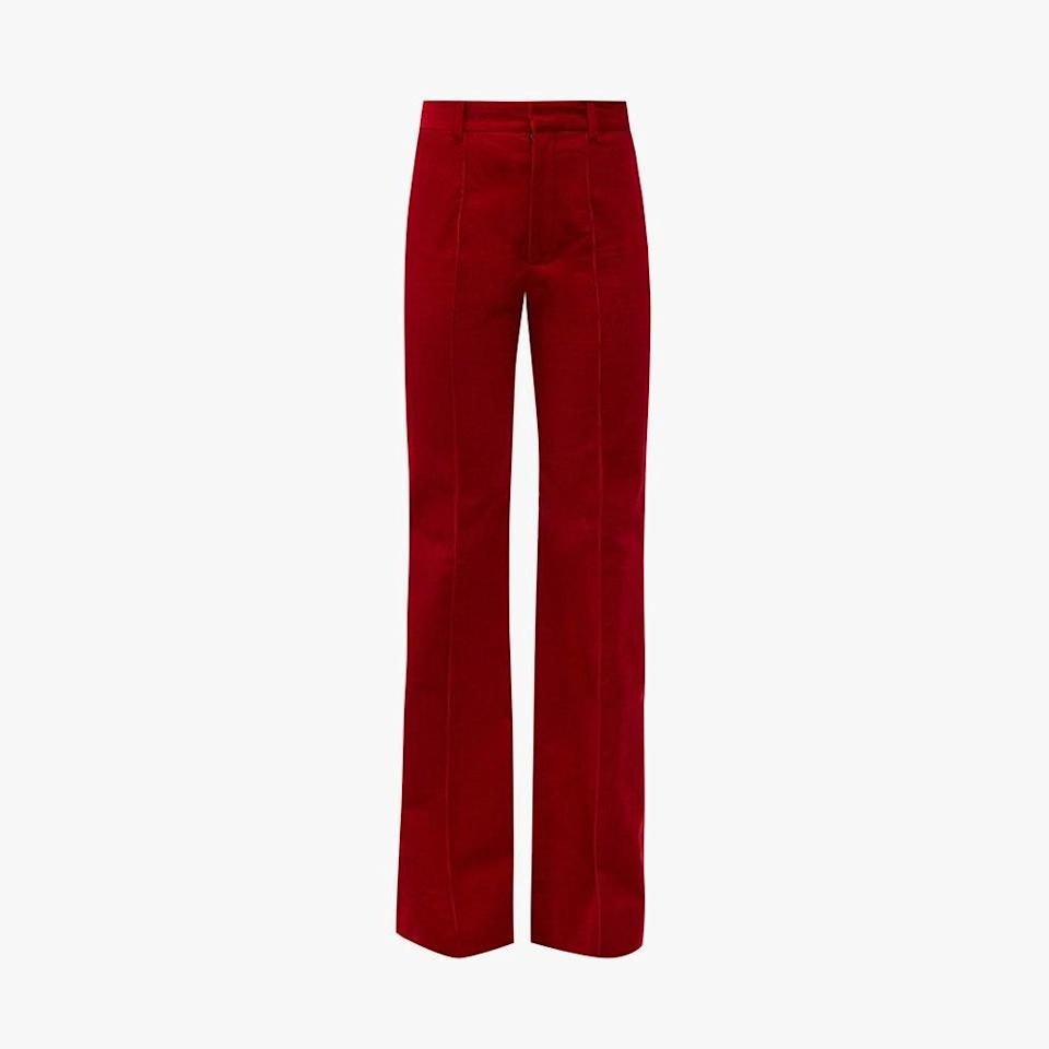 "$950, MATCHESFASHION.COM. <a href=""https://www.matchesfashion.com/us/products/Saint-Laurent-High-rise-cotton-corduroy-flared-trousers-1369259"" rel=""nofollow noopener"" target=""_blank"" data-ylk=""slk:Get it now!"" class=""link rapid-noclick-resp"">Get it now!</a>"