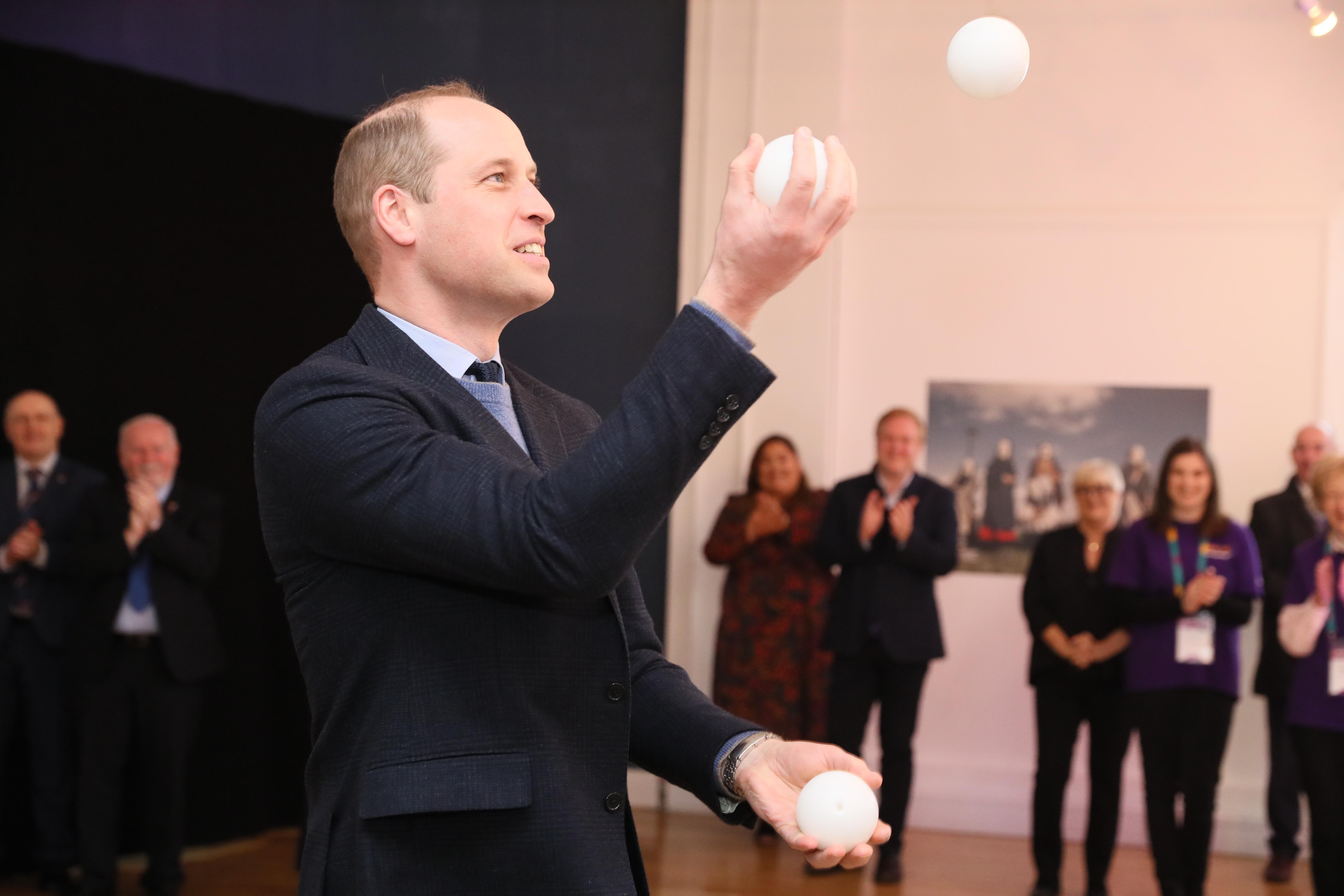 The Duke of Cambridge juggling during a special event at the Tribeton restaurant in Galway to look ahead to the city hosting the European Capital of Culture in 2020.