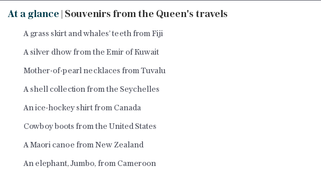 At a glance | Souvenirs from the Queen's travels