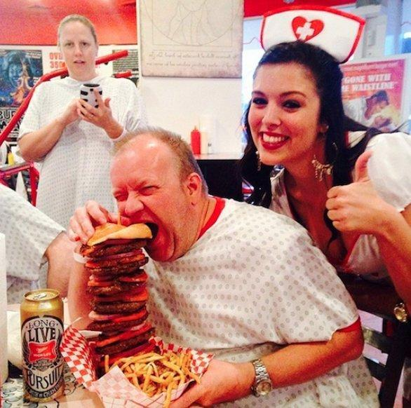 """<p>Go big or…get spanked? This Las Vegas burger joint is all business, offering massive portions to their customers and punishing those who don't finish their food with a spank. Who's up for a """"Quadruple Bypass Burger?"""" <a href=""""https://twitter.com/GranAngularRD/status/697271356644315136"""" rel=""""nofollow noopener"""" target=""""_blank"""" data-ylk=""""slk:(Photo Credit)"""" class=""""link rapid-noclick-resp""""><i>(Photo Credit)</i></a></p>"""
