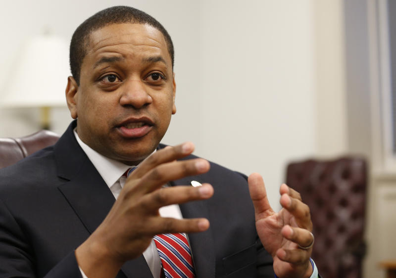Virginia Lt. Gov. Justin Fairfax speaks during an interview in his office at the Capitol in Richmond, Va., on Saturday, Feb. 2, 2019.