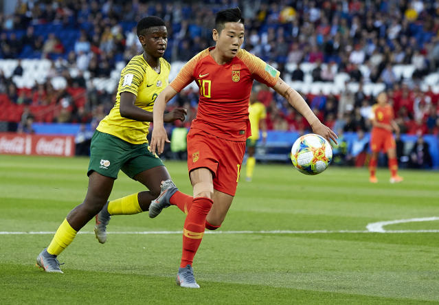 Ying Li of China runs with the ball during the 2019 FIFA Women's World Cup France group B match between South Africa and China PR at Parc des Princes on June 13, 2019 in Paris, France. (Photo by Quality Sport Images/Getty Images)